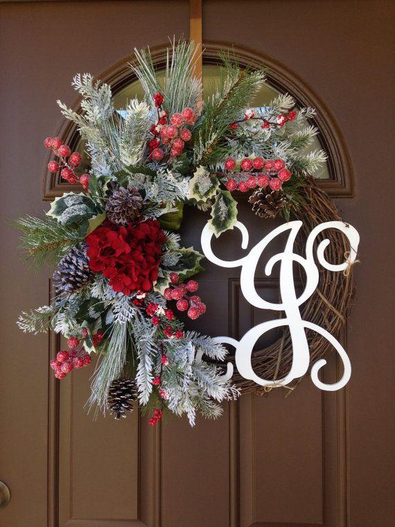Holiday Wreath - Monogram Wreath - Hydrangea Wreath- Christmas Wreath with Initial - Christmas Wreaths for Front Door - Winter Door Decor