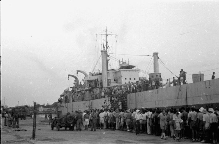 ROYAL NAVY IN ACTION AT SURABAYA. 16 NOVEMBER 1945, SURABAYA. HM SHIPS CAESAR, CAVALIER, AND CARRON, THREE DESTROYERS OF THE 6TH FLOTILLA, HAVE BEEN OPERATING OFF SURABAYA, JAVA, SINCE 1 NOVEMBER. AT FIRST THEY TOOK PART IN THE EVACUATION OF INTERNEES FROM THE TOWN, AND LATER BOMBARDED THE COAST IN SUPPORT OF THE ARMY.