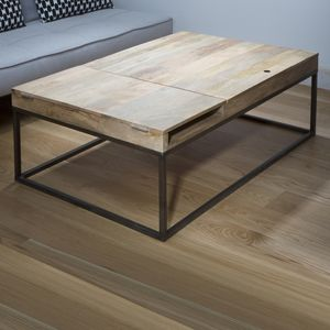 17 best table basse images on pinterest wood coffee for Table bois metal rallonge