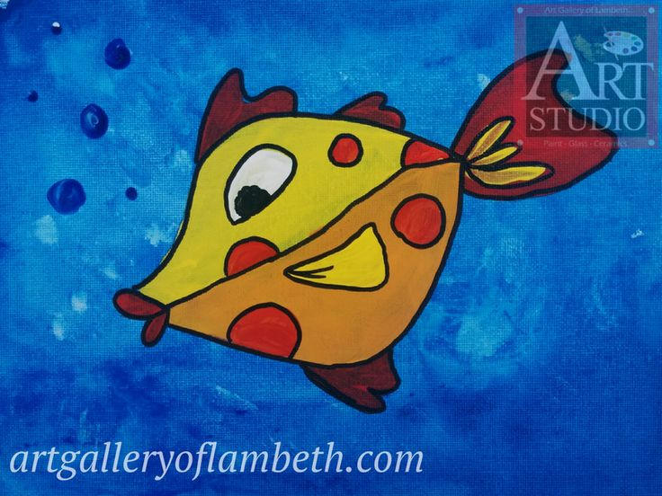 Fishy Fishy - one of many paintings London, Ontario Kids can learn to paint at the #AGLArtStudio #ldnont #Kids #Art #Painting #Birthday #Parties Register at http://artgalleryoflambeth.com/new-calendar-events-page/