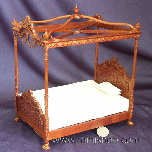 Miniature Furniture: Victorian Canopy Bed, Walnut, for your Dollhouse    From minishop.com