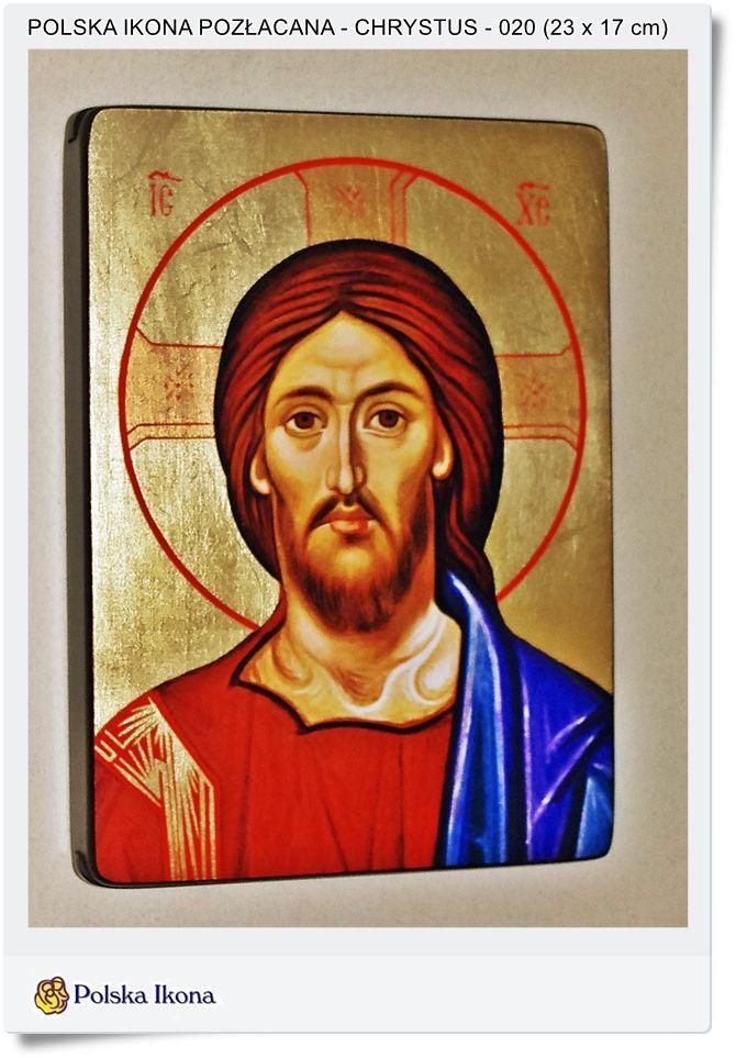 Polska ikona pozłacana Chrystus Pan Jezus
