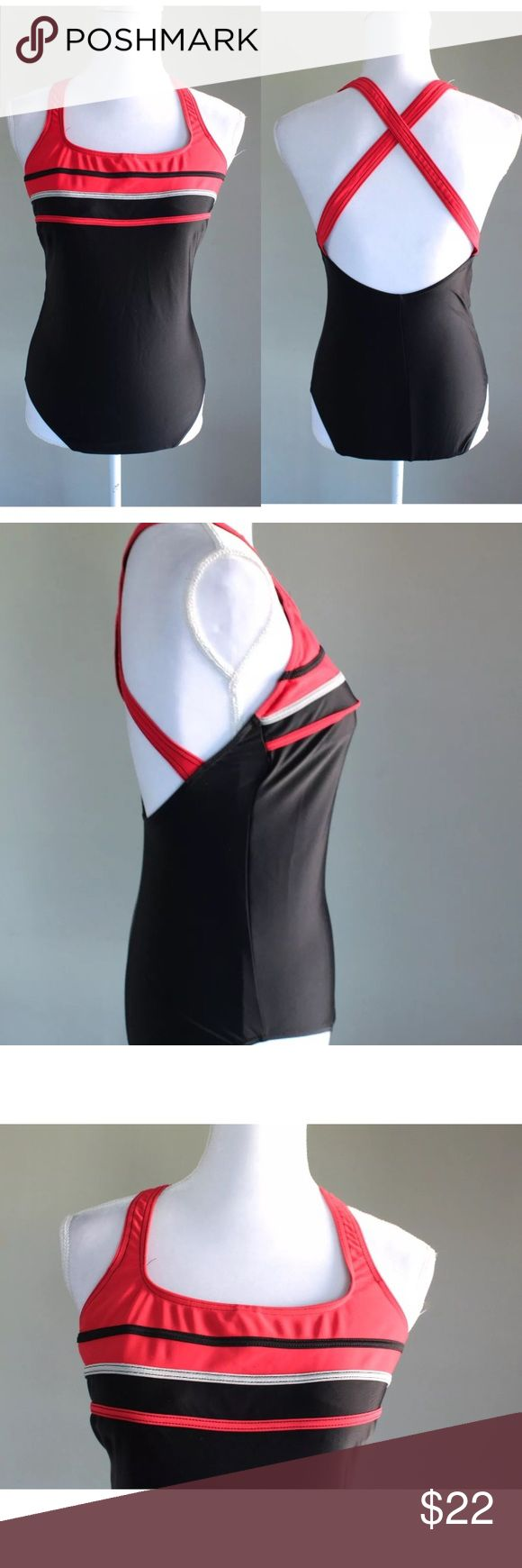 Christina One Piece Swimsuit Black Red Medium Christina women's full piece bathing suit in a truly classic design in black with red detailing. Size medium and in great condition. christina Swim One Pieces