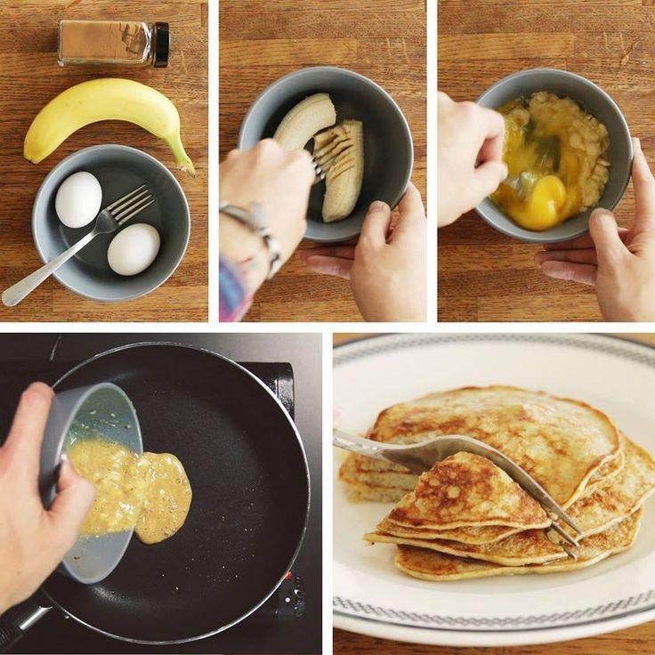 Heerlijke, Gezonde Pannekoekjes met... slechts 3 ingrediënten :  1) Eitjes 2) Bananen 3) Kaneel.