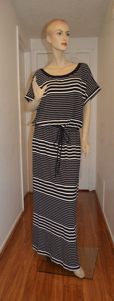 Ava & Viv New  2X Maxi DRESS Black White Striped Short Sleeve Ebay TARGET SALE #AvaViv #Maxi