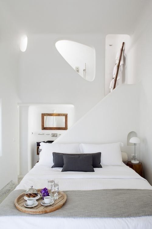 This bedroom would be a modern alternative for a cave summer house at greek island santorini - Eigentijdse design slaapkamer ...