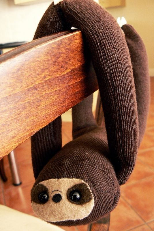 sock sloth - one of my favorite animals!    I'm gonna hang these all over the house until brad gets sick of them and takes them down!