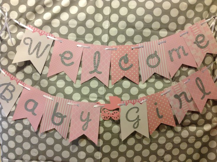 Welcome Baby Girl Banner, Pink Baby Shower Banner, Pink Baby Girl Welcome Banner, Welcome Baby Shower Banner, Welcome Baby Banner by PurdyMays on Etsy https://www.etsy.com/listing/530337019/welcome-baby-girl-banner-pink-baby