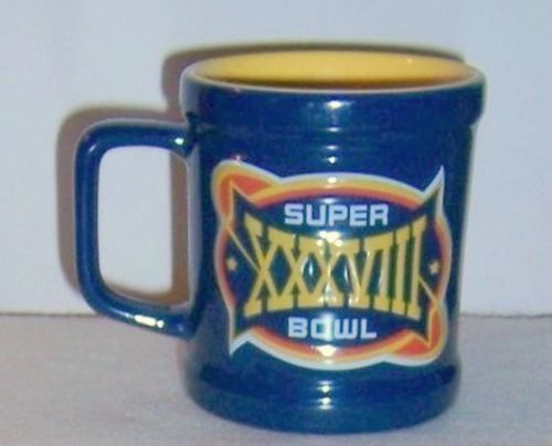 Ceramic Mug Super Bowl XXXVIII Feb 2, 2004 Patriots vs Panth   It's Football Season!