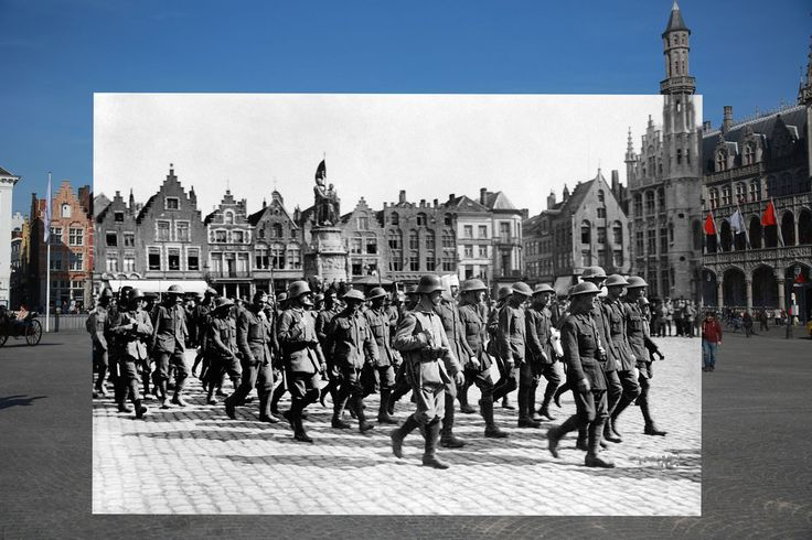 The main square in Bruges, Belguim. | 11 Time-Travelling Photos Of World War One: Then And Now