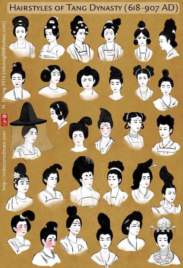 Hairstyles of China's Tang Dynasty Women by lilsuika.deviantart.com on @deviantART