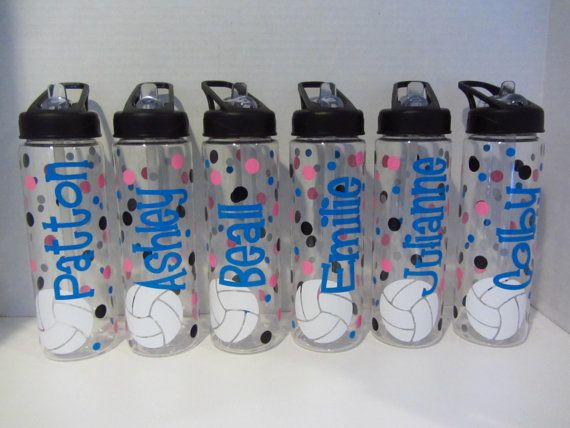 This would be cool for the volleyball girls:)  13 Personalized water bottles  soccer volleyball by DottedDesigns, $143.00