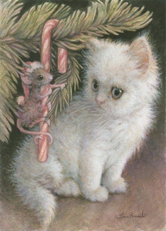 DPW Fine Art Friendly Auctions - Candy Cane Mouse & Kitten by Lynn Bonnette