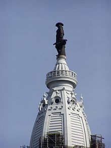 "William Penn Statue atop City Hall Tower, Phila. Every Philadelphian knows this is the ""Hard On"" view.  Someone is excited for me to be back home for spring break."