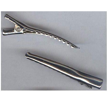 50 pcs hair bow clip beak clamp salon clip Silver alligator clip pronged hair clip Silver color 1.75in long .25in wide hair barrette 168x