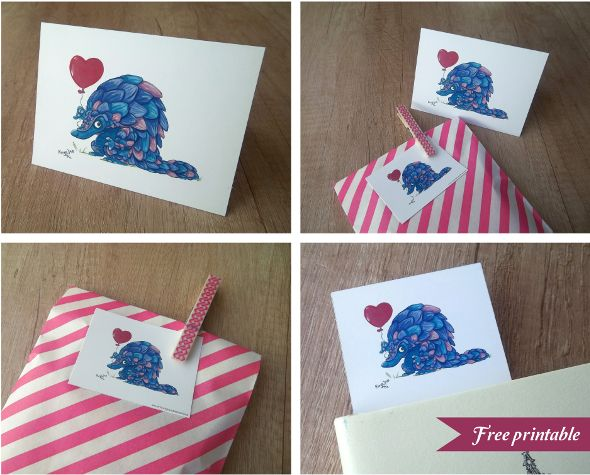 Free printable cute pangolin card from Terrapin and Toad plus you can win the original painting.