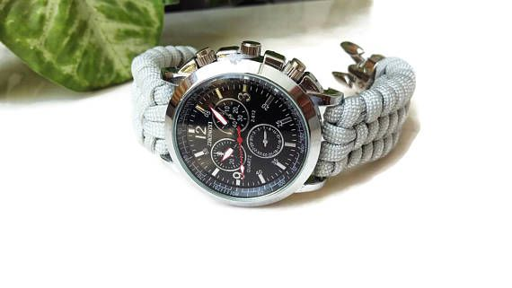 Men's watch Fashion watch Paracord watch Gray watch