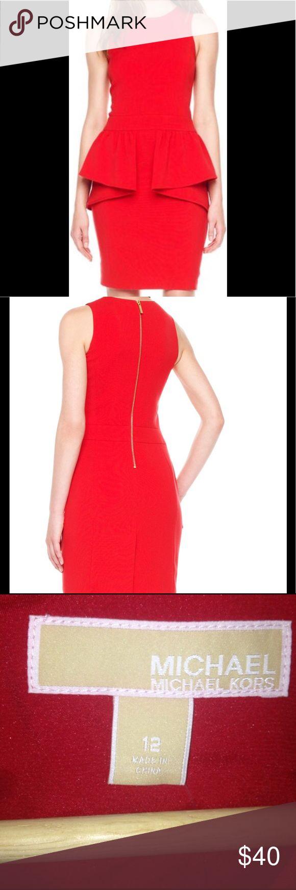 Michael Kors Red Peplum Dress NWT | Michael Kors | Size 12 | Sleeveless | Red | Peplum Smoke and Pet Free Home MICHAEL Michael Kors Dresses