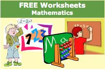 Free Mathematics Worksheets - hundreds of worksheets in the following categories; Flash Cards, Addition, Addition & Subtraction, Beginning Money, Count By, Counting - Ages 3-6, Division No Remainders, Division With Remainders, Fractions, Graphs, Greater and Less Than, Measurement, Money, Multiplication, Number Lines, Numbers - Ages 3-6, Ordinal Numbers - Ages 3-6, Place Value, Roman Numerals, Rounding, Subtraction, Telling Time