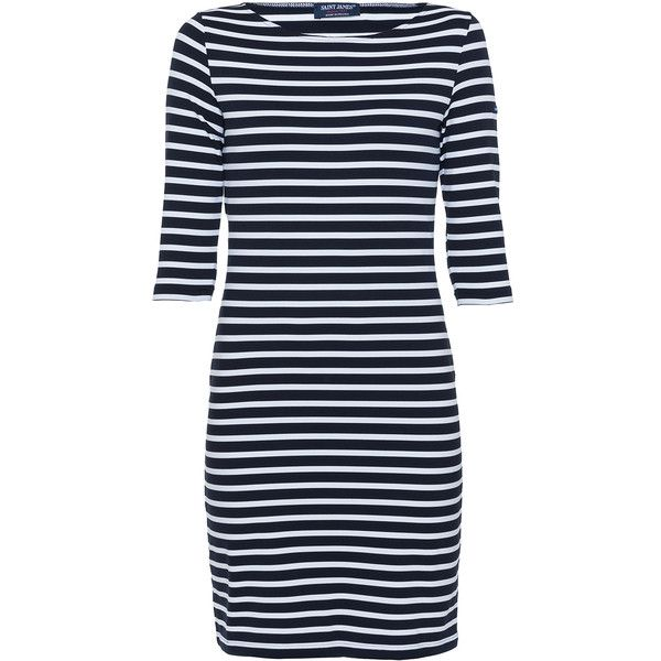 Saint James Propiano Ii Navy Striped Dress (£145) ❤ liked on Polyvore featuring dresses, striped, boatneck dress, navy blue striped dress, stretch dress, navy stripe dress and 3/4 length sleeve dresses