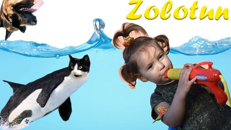 Zolotun - игра с водным пистолетом, гоняемся за собакой и поливаем ее из...