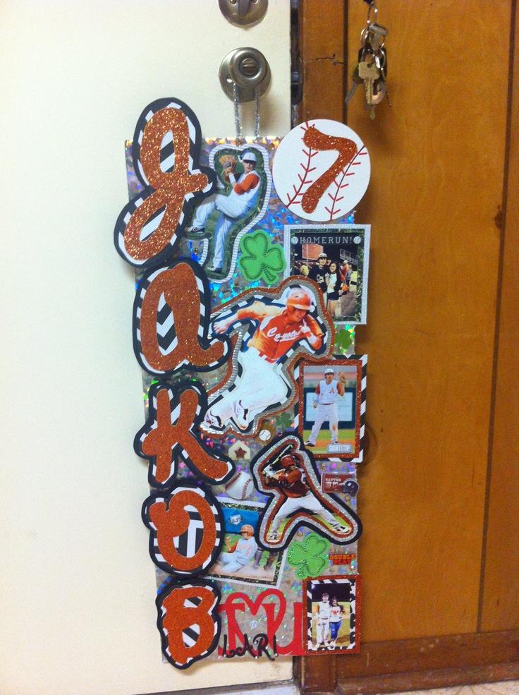 Baseball locker decoration baseball baby pinterest for Hotel door decor
