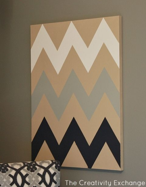 DIY Chevron Canvas Art Tutorial With Free Printable Stencil
