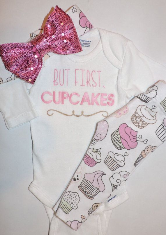 Baby Girl Cupcake Leggings Shirt Onesie & by knotsandthreads1