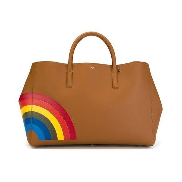 Anya Hindmarch Large 'Rainbow Featherweight Ebury' Tote ($2,500) ❤ liked on Polyvore featuring bags, handbags, tote bags, multicolor, multi colored handbags, colorful totes, anya hindmarch tote, tote handbags and anya hindmarch handbags