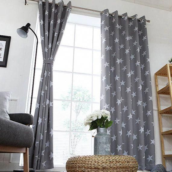 Grey Stars Patterned Blackout Eyelet Curtains By Enapremium Modern Curtains Blackout Eyelet Curtains Home Decor