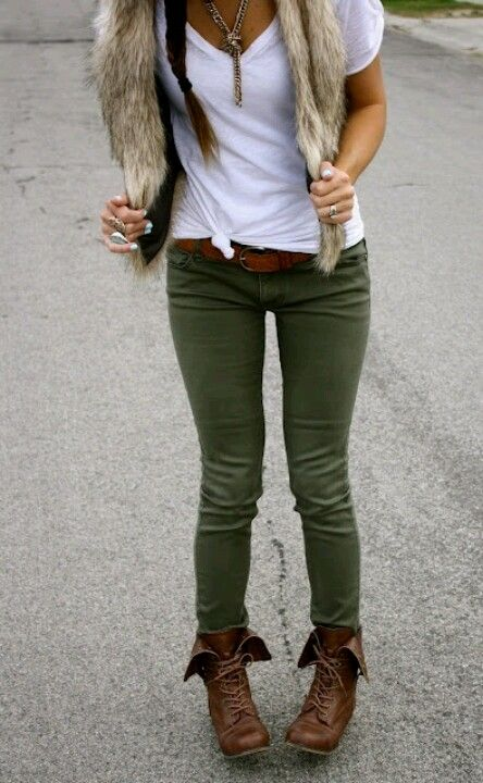 Olive skinny pants with brown fold over combat boots. Not sure about the vest but love the jeans and boots