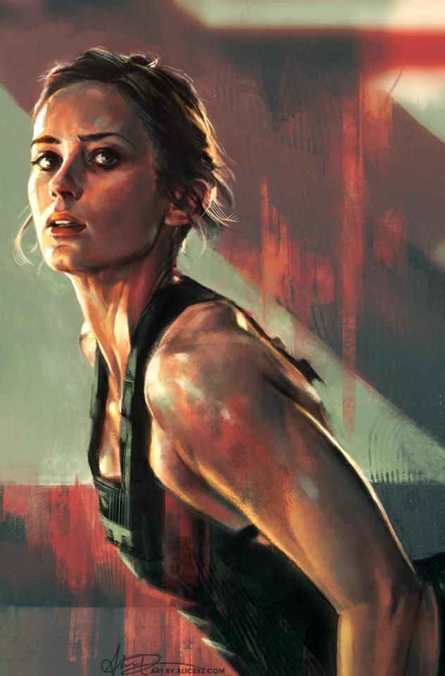 Edge of Tomorrow- Emily Blunt painting- love this scene because of the badass yoga pose!