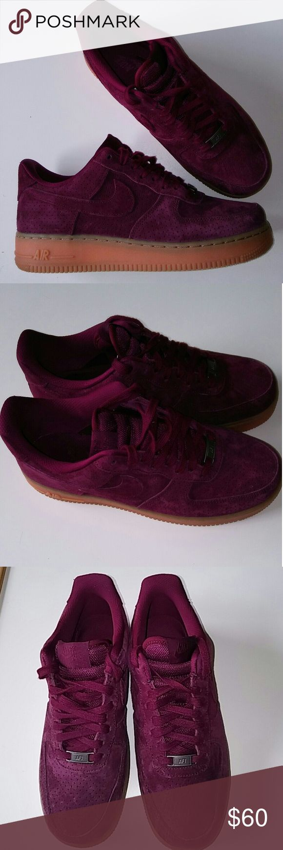Air Force One Burgundy Suede Air Force One Burgundy Suede Sneaker Nike Shoes Sneakers