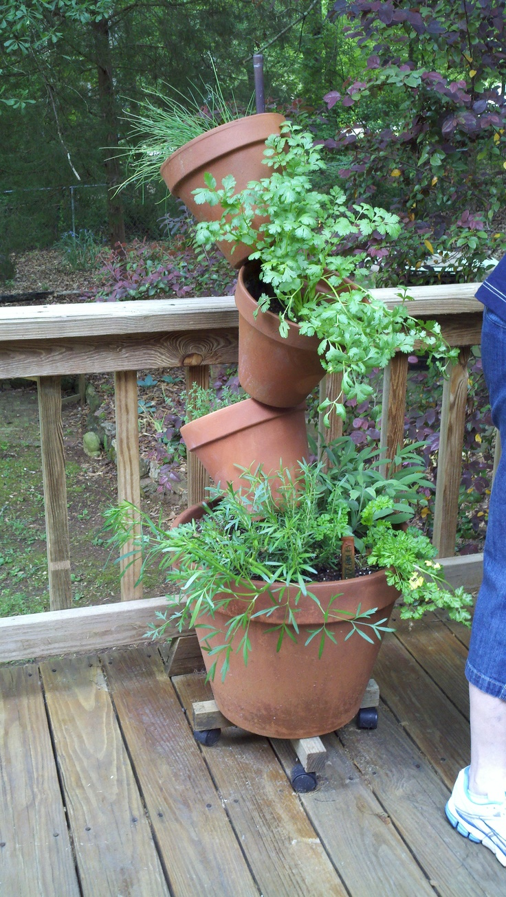Stacked Pots Herb Garden Garden Pinterest Gardens Stacked Pots And Potted Herbs
