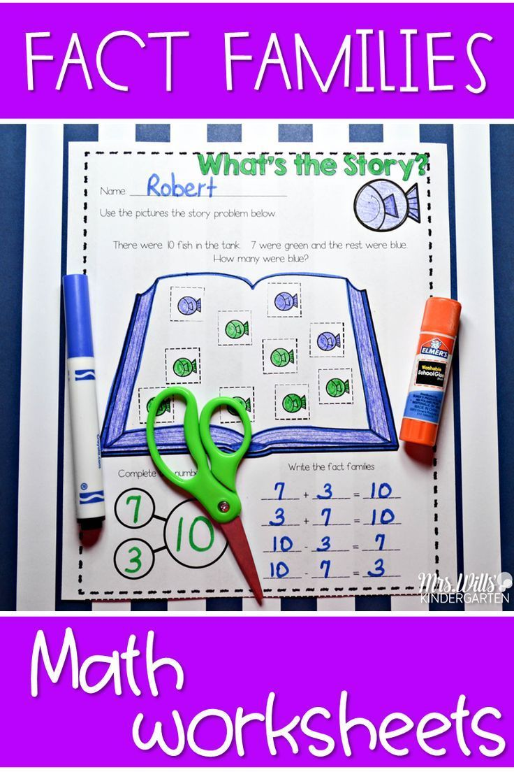 Addition with fact family worksheet for kindergarten.  Students will use number bonds to decompose the equation.  This is a fun way to practice story problems!