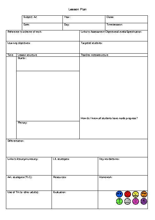Lesson Plan Template For Preschool - Preschool Lesson Plan Template