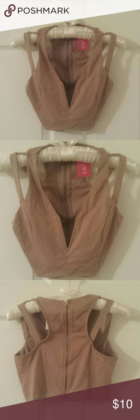 A'GACI nude strappy crop top Zips up the back. Deep Vee neckline. Nude color. Size small. Worm once to try on. a'gaci Tops Crop Tops