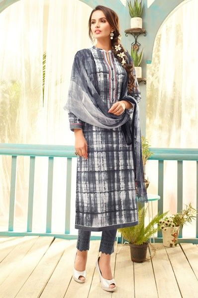 Party Wear Lawn Cotton Digital Print Embroidered Straight Cut Salwar Suit