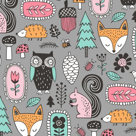 Fall Woodland Forest Doodle with Fox, Owl, Squirrel, Hedgehog,Trees, Mushrooms and Flowers on Grey fabric by caja_design on Spoonflower…