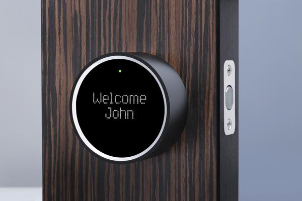 This dead bolt keeps an unblinking eye on visitors, snapping photos of anyone within 6 feet of your door and sending them to your smartphone. Not home when the plumber arrives? E-mail a digital key for temporary access. When you get home, it unlocks with a phone, a fob, or even a traditional key. | Goji Smart Lock, by Goji | gojiaccess.com