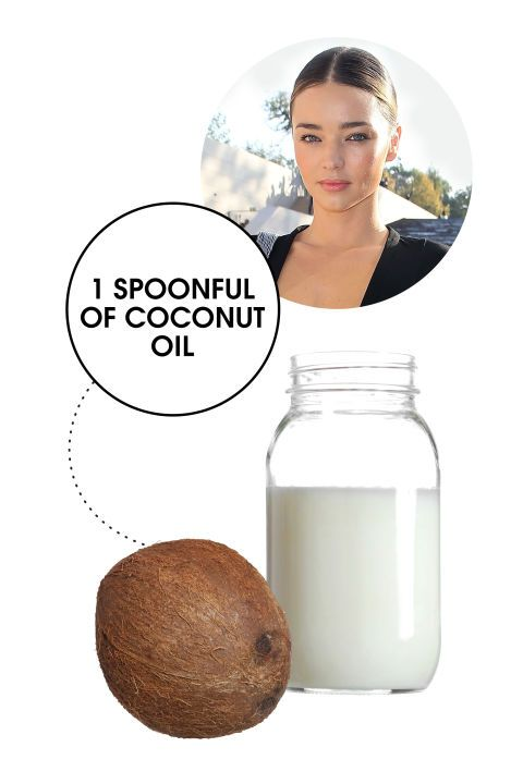 Miranda Kerr recommends taking a spoonful of unrefined coconut oil daily to stay fit. See 14 other weird celebrity hot body secrets.