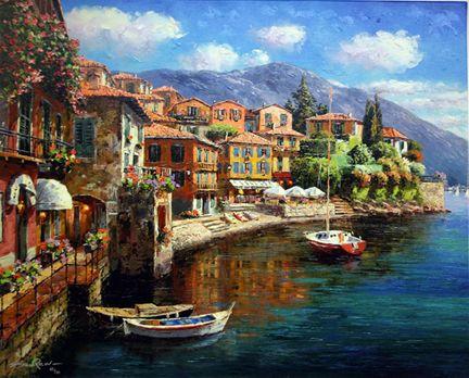 """""""Harbor at Varenna"""" by Sam Park"""