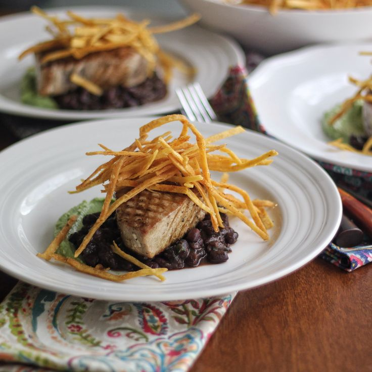 Grilled Tuna With Black Bean Chili, Avocado Puree and Fried Tortillas ...
