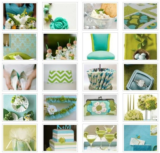 Aqua and Chartreuse - http://www.facebook.com/theperfectpalette
