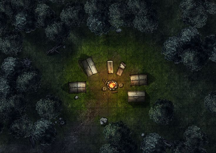 Adventurer camp (night), a printable and online battle map for Dungeons and Dragons / D&D, Pathfinder and other tabletop RPGs. Tags: forest, camp, tent, campfire, rest, fantasy, encounter, ambush, combat, print, roll20, fantasy grounds