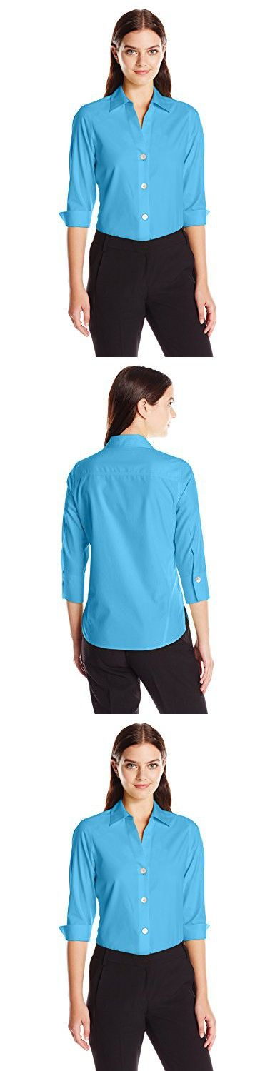 Foxcroft Women's Plus Size 3/4 Sleeve Paige Essential Non Iron Shirt, Aqua Sea, 22W
