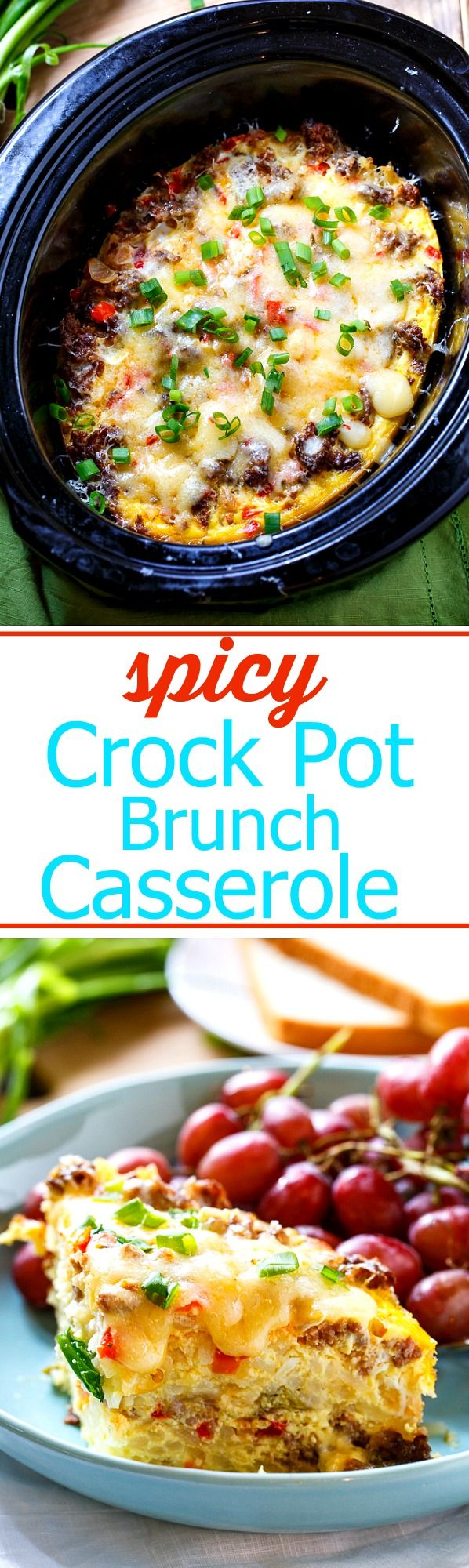Spicy Crock Pot Brunch Casserole with sausage, hash browns, eggs, and cheese.