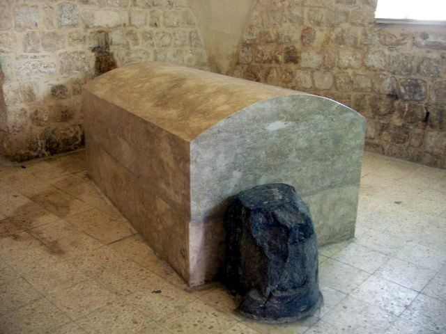 Joseph's Tomb, located at the eastern entrance to the valley that separates Mounts Gerizim and Ebal, 325 yards northwest of Jacob's Well, on the outskirts of the West Bank city of Nablus, near Tell Balāṭa, the site of biblical Shechem.  Biblical tradition identifies the general area of Shechem as the resting-place of the biblical patriarch Joseph, the eponymous ancestor of the northern kingdom of Israel, and his two sons Ephraim and Manasseh.