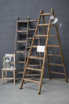 Oude houten ladder  | Old BASICS | webshop voor unieke oude meubels en op maat gemaakte meubels van hout en ijzer| Brocante - Industrieel - Vintage - Stoer landelijk _ oud hout_houten ladder     www.old-basics.nl