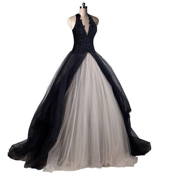 Gothic Wedding Dress Black Wedding Dresses Black Tulle Chapel Train Bridal Gown Halter Wedding Dress Bridal Gowns on Etsy, $319.00